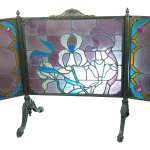 Art Nouveau Bronze Stained Glass Fireplace Screen Chairish