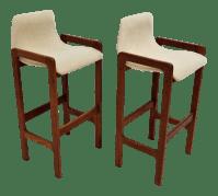 DScan Mid-Century Modern Teak Bar Stools - A Pair | Chairish