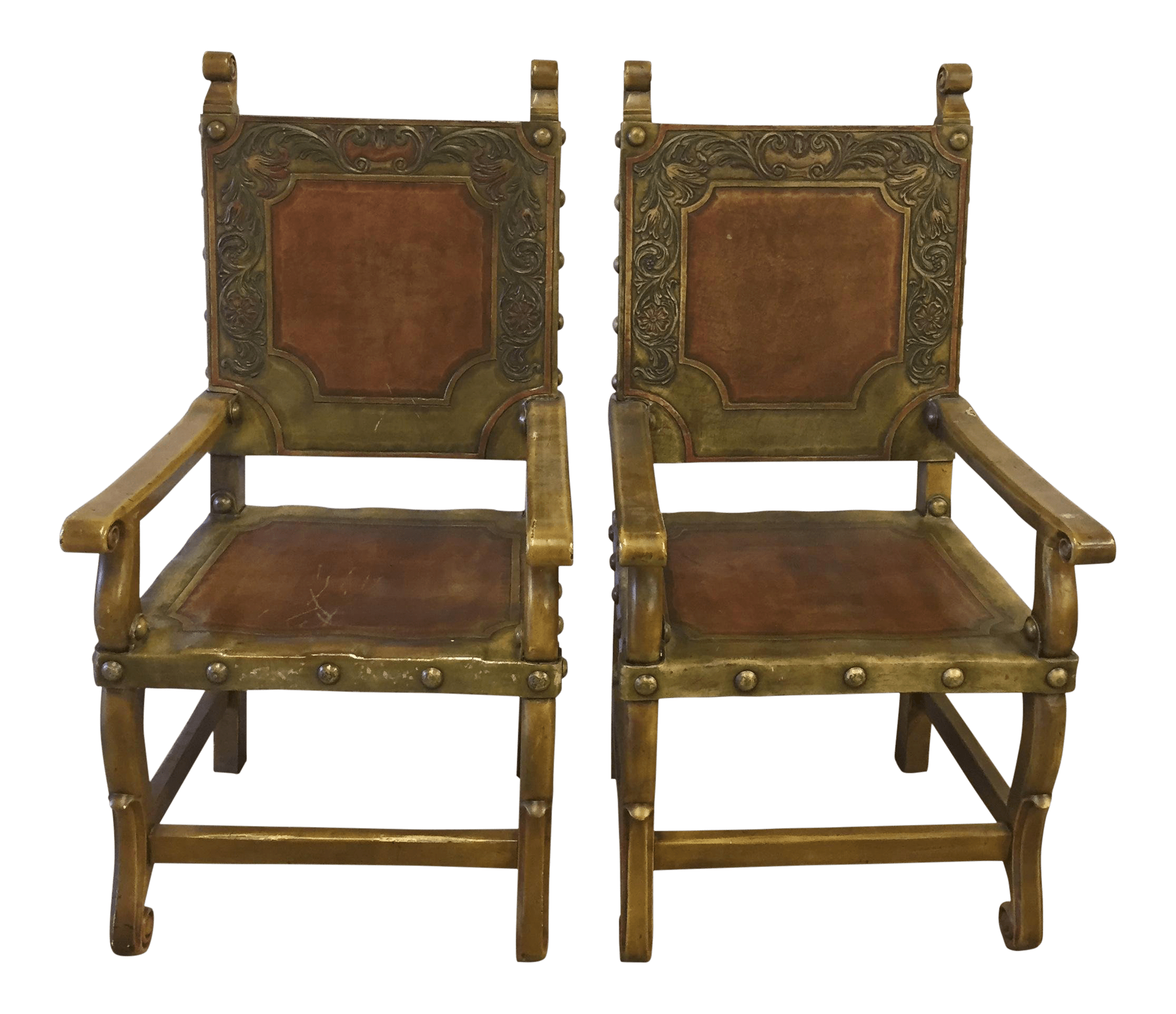 Western Chairs Spanish Heritage Western Leather Hand Tooled Leather Arm Chairs A Pair