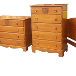 Vintage 4 Piece Mid Century 1950s Maple Child S Bedroom Set W Carved Sailing Ship Drawer Chairish