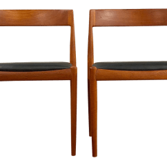 Modern Leather Accent Chairs Swivel Desk Chair Mid Century Fritz Hansen Teak And A Pair For Sale