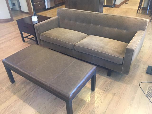 andre sofa small denim sectional modern room board two cushion chairish for sale image 4