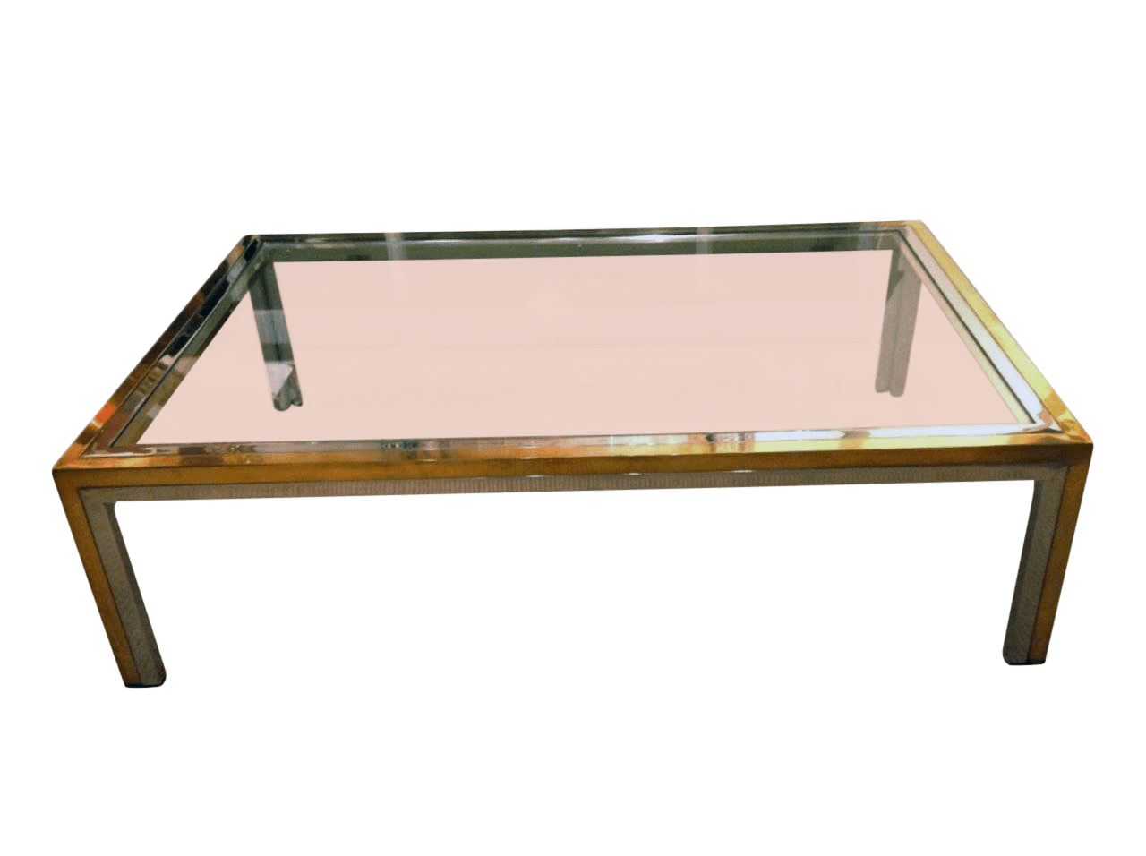 Romeo Rega Mid Century Modern Brass Chrome And Glass Coffee Table