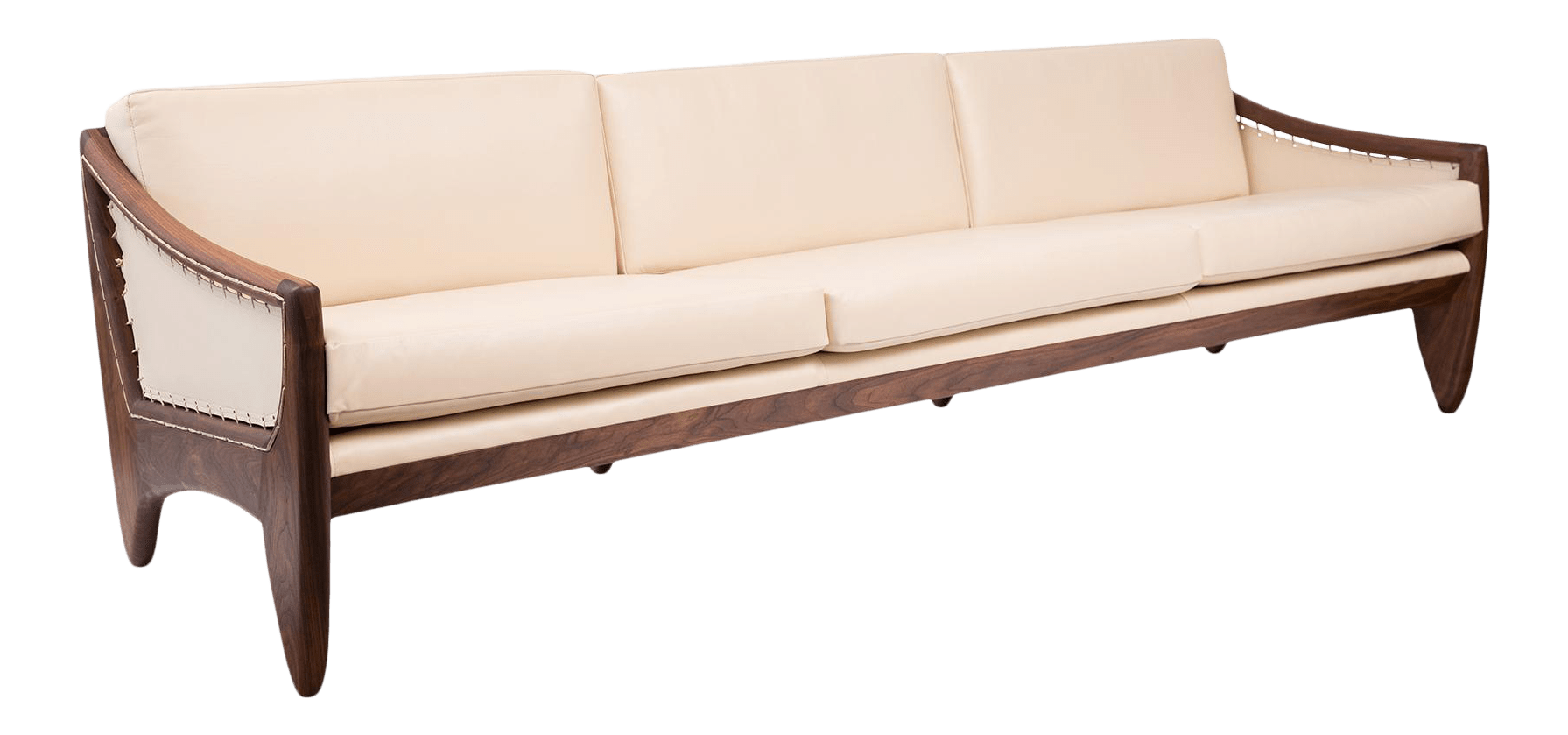 Mid Century Modern Walnut Leather Sofa After Allen Ditson