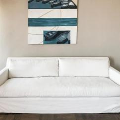 Petite Belgian Track Arm Slipcovered Sofa Folding Table Under Restoration Hardware 7 In White Rh S Linen Is A European Inspired Take On The Classic