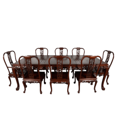 Chinese Rosewood Dining Table And Chairs Chair Covers Rental Chicago Vintage Hand Carved Imperial Dragon Set