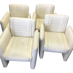White Leather Chairs For Sale Mustard Dining Vintage Art Deco On Casters Set Of 4 Chairish