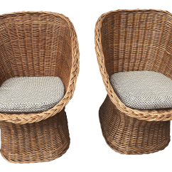 Comfortable Wicker Chairs Wheelchair Lights 1960 S Vintage Scoop Cushions A Pair Chairish