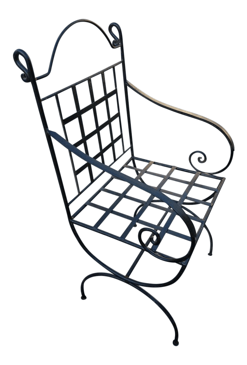 wrought iron chair ottoman combo moroccan chairish for sale