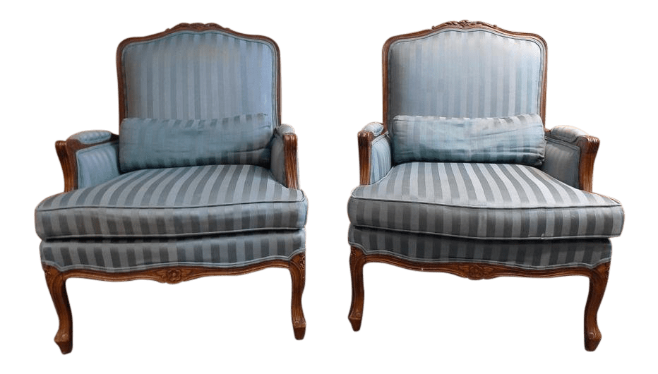 Ethan Allen Club Chairs Ethan Allen French Queen Anne Walnut Club Chairs A Pair