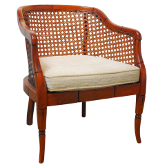 Mid Century Modern Cane Barrel Chairs Wicker Outdoor Chair Midcentury Bamboo Chairish For Sale