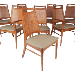 Dining Chairs With Caning Beach At Lowes Set Of Eight Mid Century Modern Cane Back Chairish For Sale