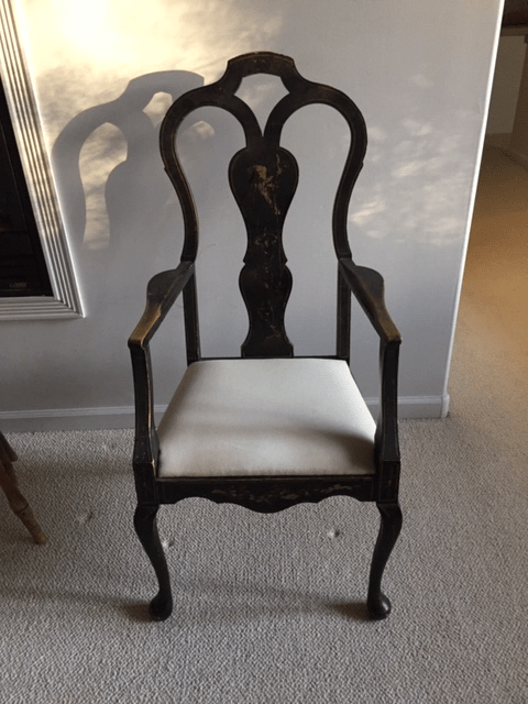 antique queen anne chair how much fabric to reupholster a early 20th century chinoiserie styled black for sale image 8 of