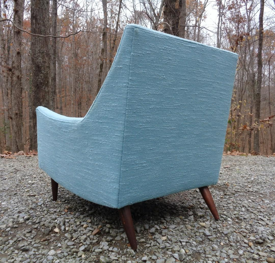 turquoise lounge chair two person carry mid century danish modern style chairish for sale image 4 of 13