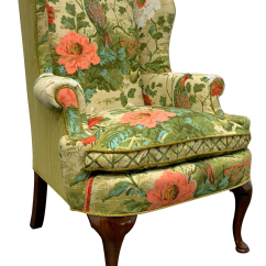 Queen Anne Wing Chair High Backed Wooden Chairs With Arms Henredon Avian Foliate Themed Back Chairish For Sale