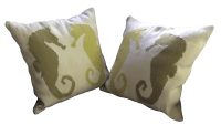 Seahorse Wool Pillows - A Pair | Chairish