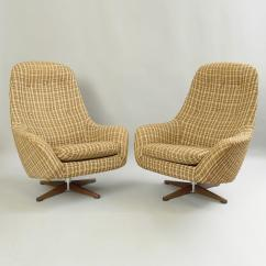 Ab Swivel Chair Tan Leather Sale Vintage Pair Of Swedfurn Mid Century Modern Pod Lounge Chairs Item Original By