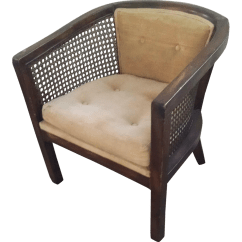 Barrel Back Chair Desk And Set Argos Vintage Cane Chairish For Sale