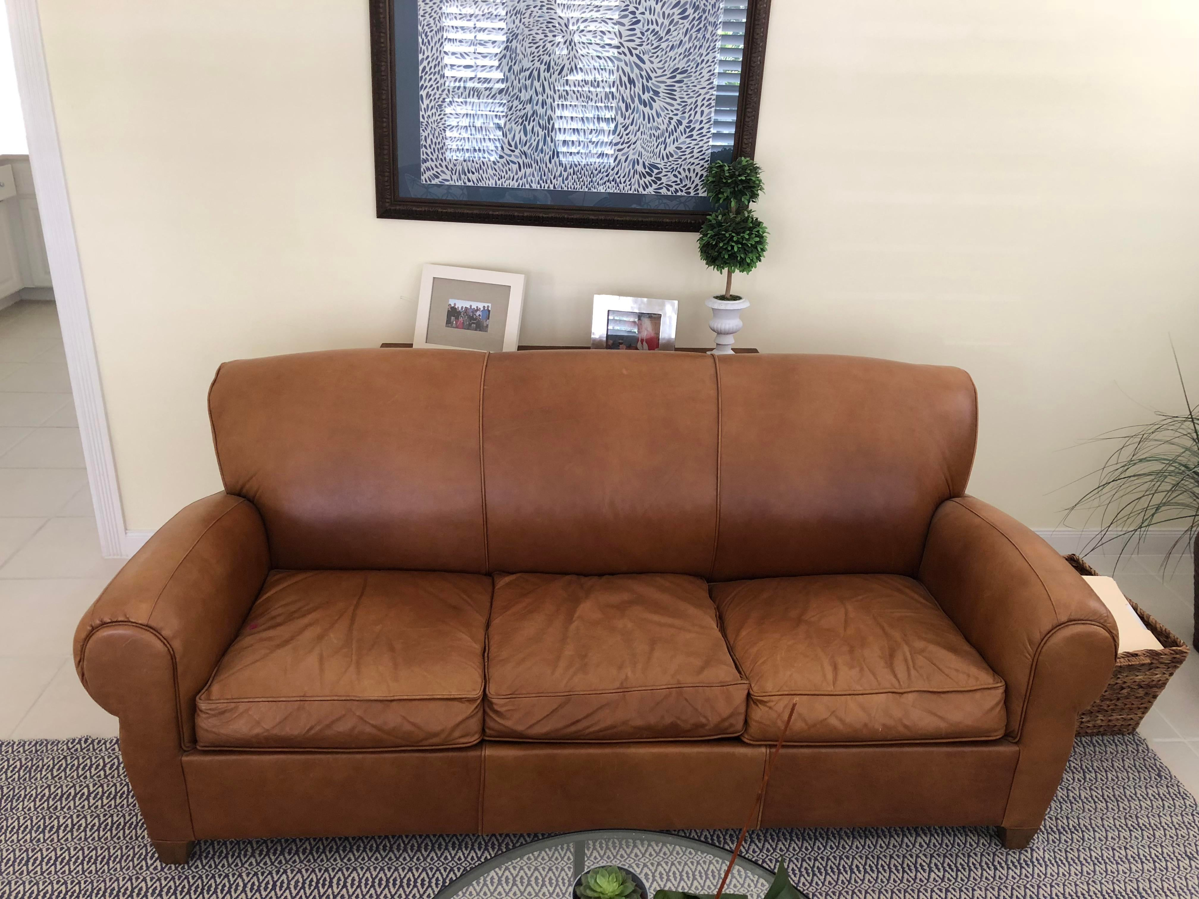leather sofa like pottery barn most comfortable reclining sectional sofas mitchell gold for manhattan sleeper chairish sale image 10 of