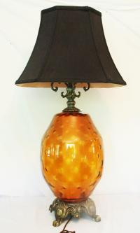 Large Mid-Century Amber Glass Table Lamp and Shade   Chairish