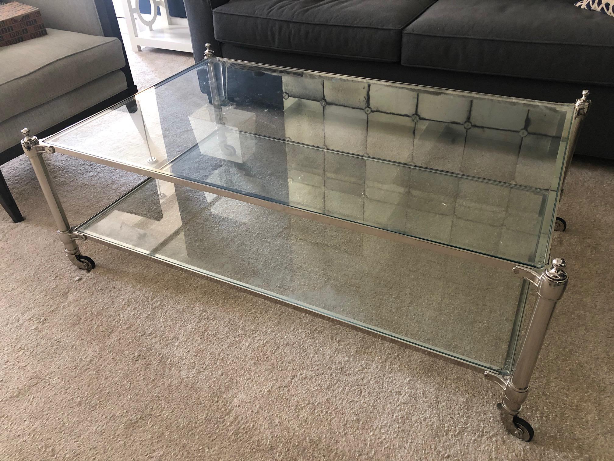williams sonoma glass coffee table