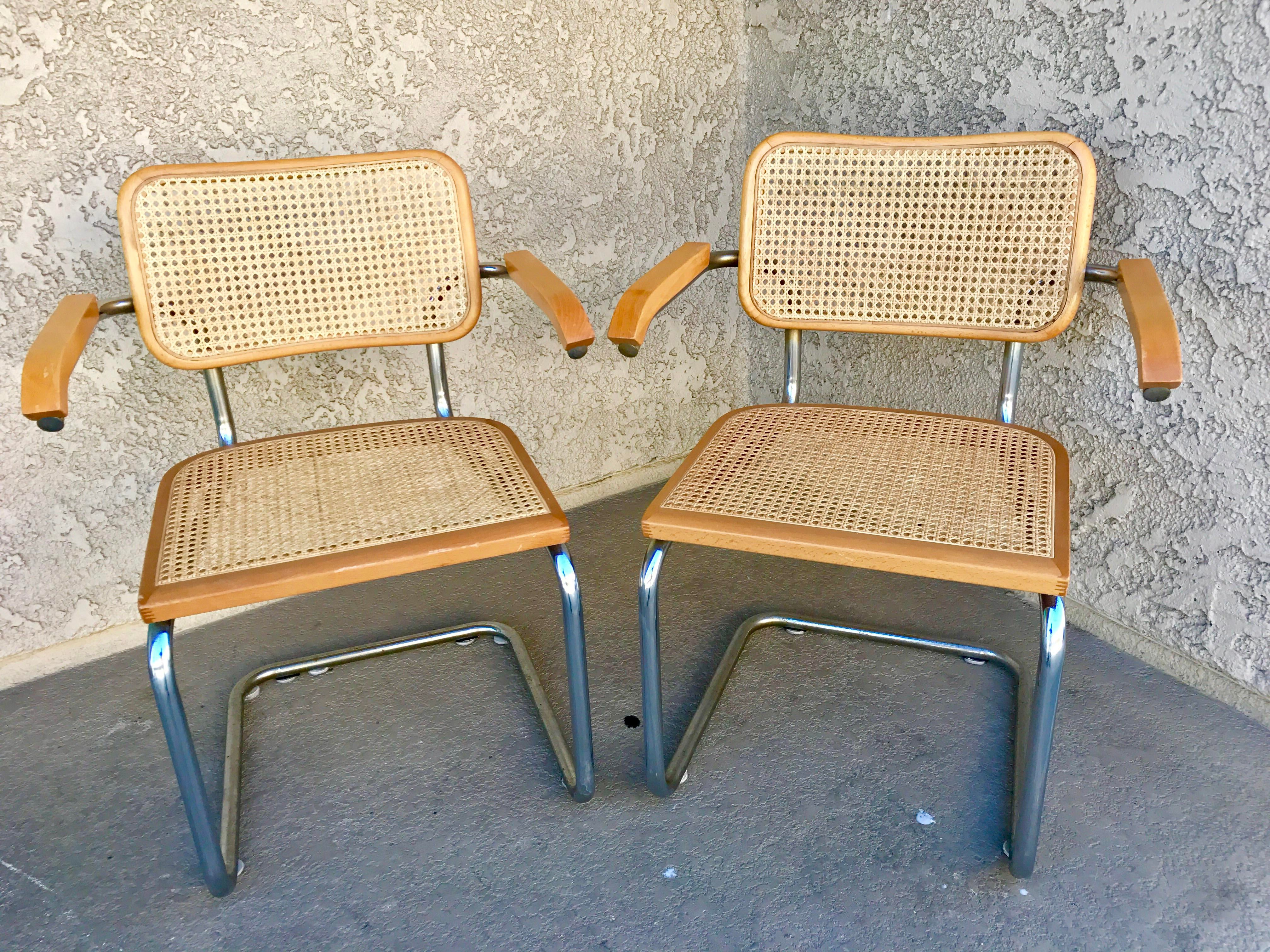 marcel breuer cesca chair with armrests kitchen table seat covers b64 chairs a pair chairish this is of s cantilever one model