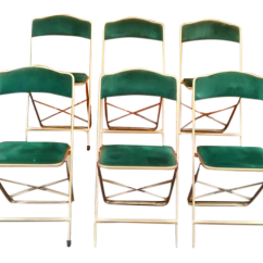 Folding Chair Green Luxury Accent Chairs Vintage A Fritz Co Velvet Set Of 6 Chairish For