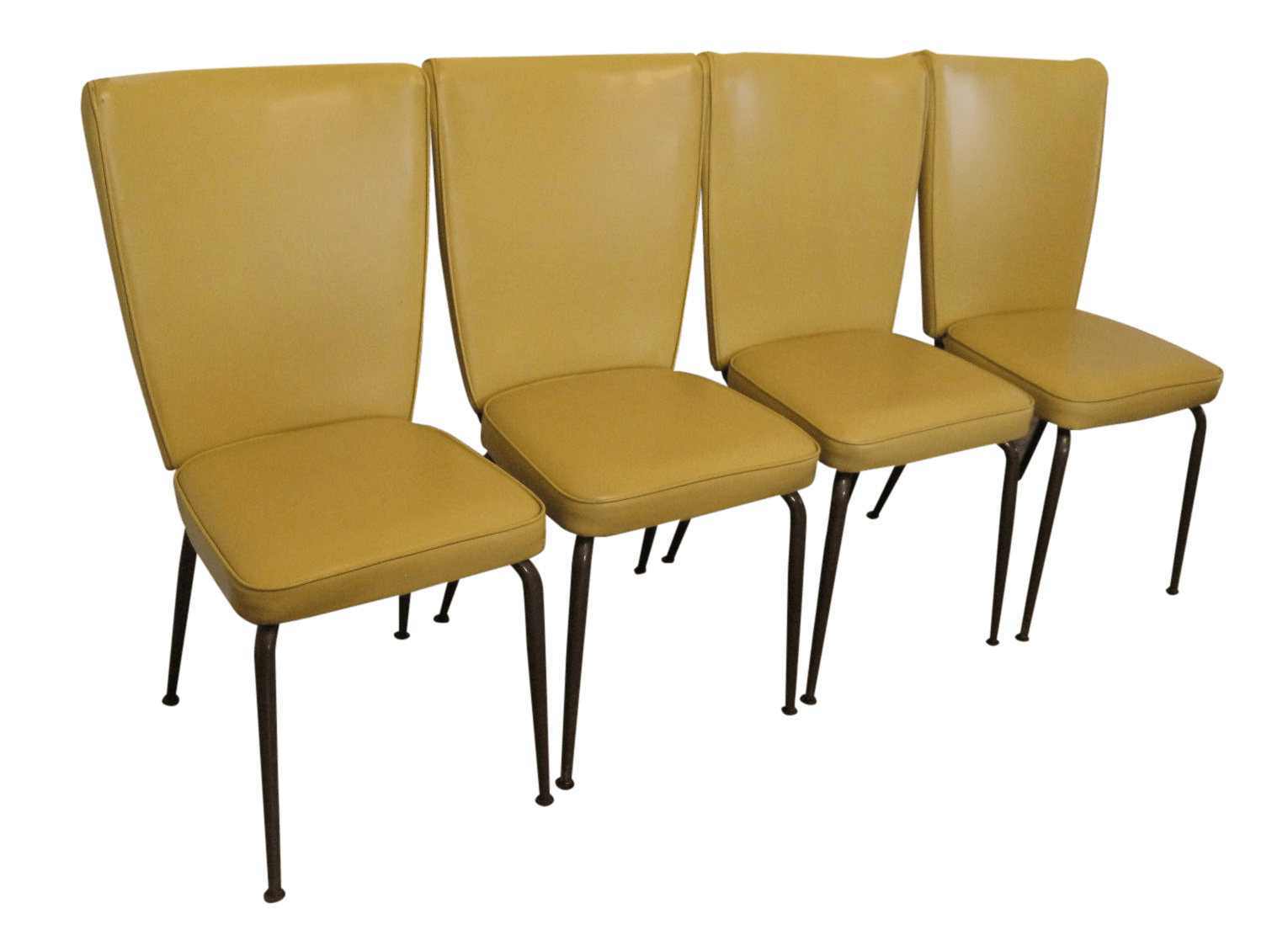 mid century modern kitchen chairs cabinet door replacement virtue bros yellow set of 4 chairish for sale