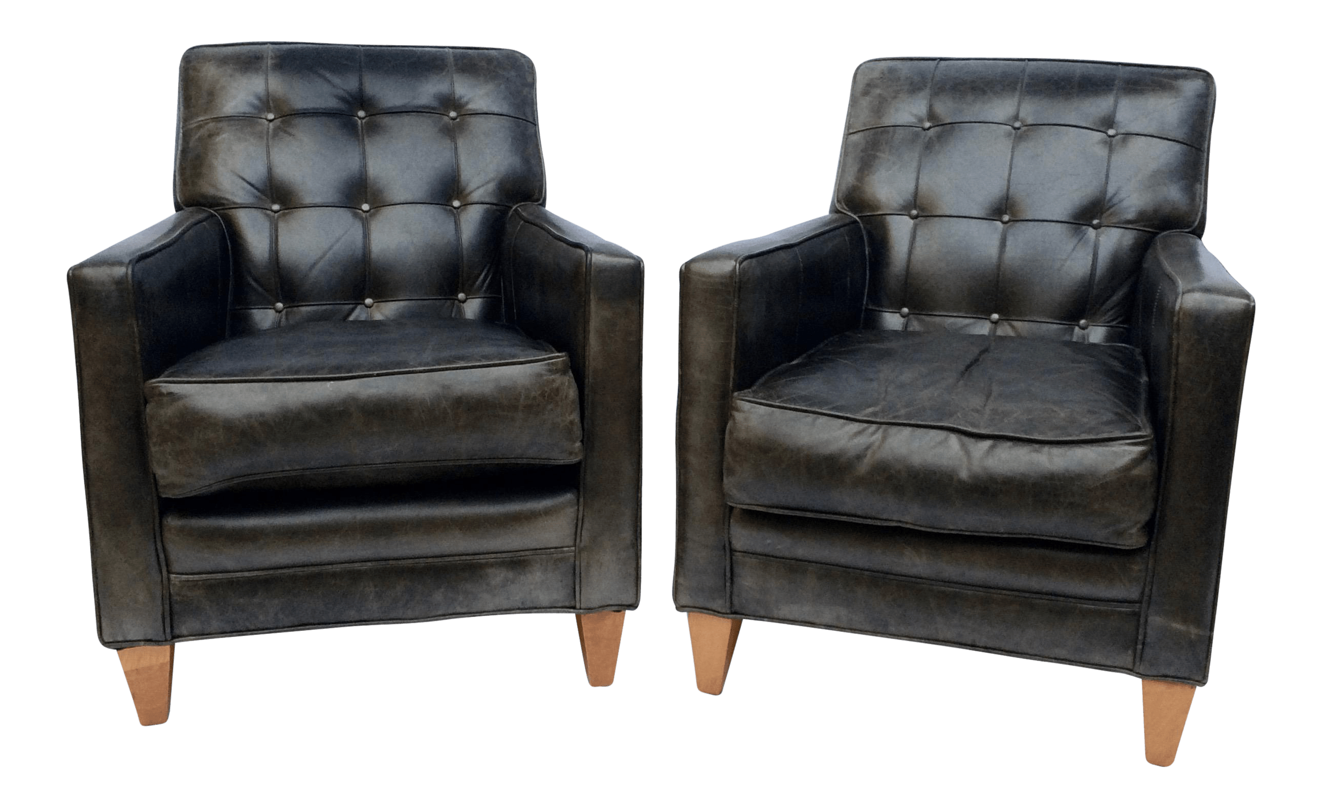 Black Leather Lounge Chair Vintage Tufted Back Black Leather Lounge Chairs A Pair