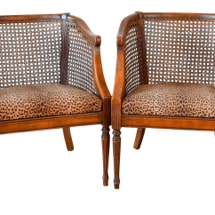 Mid Century Cane Barrel Chair Best After Spinal Surgery Vintage Back Leopard Side Chairs A Pair