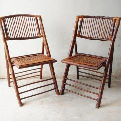 Bamboo Folding Chair Directors Camping 1950s Mid Century Modern Tortoise Rattan Chairs A Pair For Sale Image