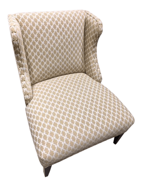 upholstered slipper chair design brief scalalmandre trellis weave sand chairish for sale