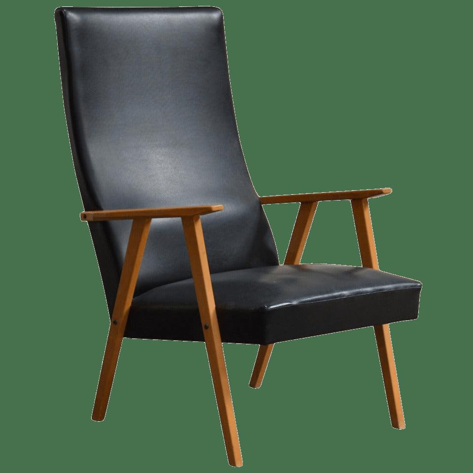 Swedish MidCentury Modern High Back Lounge Armchair