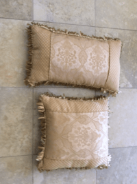 Stratford Beige Patterned Pillows - A Pair | Chairish