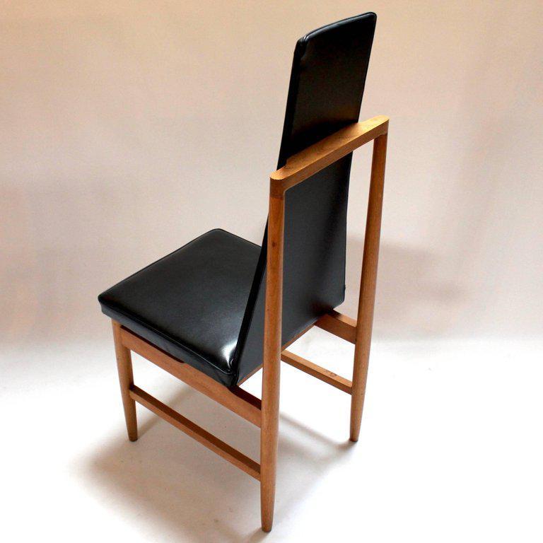 tall back chairs foldable cushion chair danish modern teak black vinyl dining set of 4 for