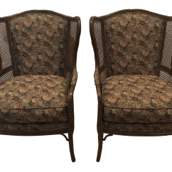Ethan Allen Wingback Chairs Sitting Area Biggest Crossword Vintage Used Accent Chairish 1990s Faux Bamboo Rattan Cane Arm A Pair