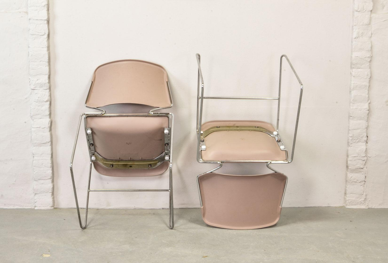 krueger folding chairs desk chair diy sophisticated set of seven mid century muted pink stackable dining by thomas tolleson for matrix
