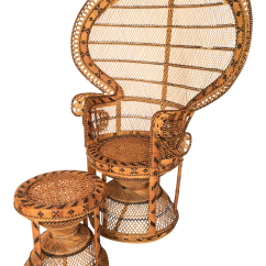 Vintage Peacock Chair Side Chairs With Arms Emmanuelle Matching Ottoman Chairish For Sale