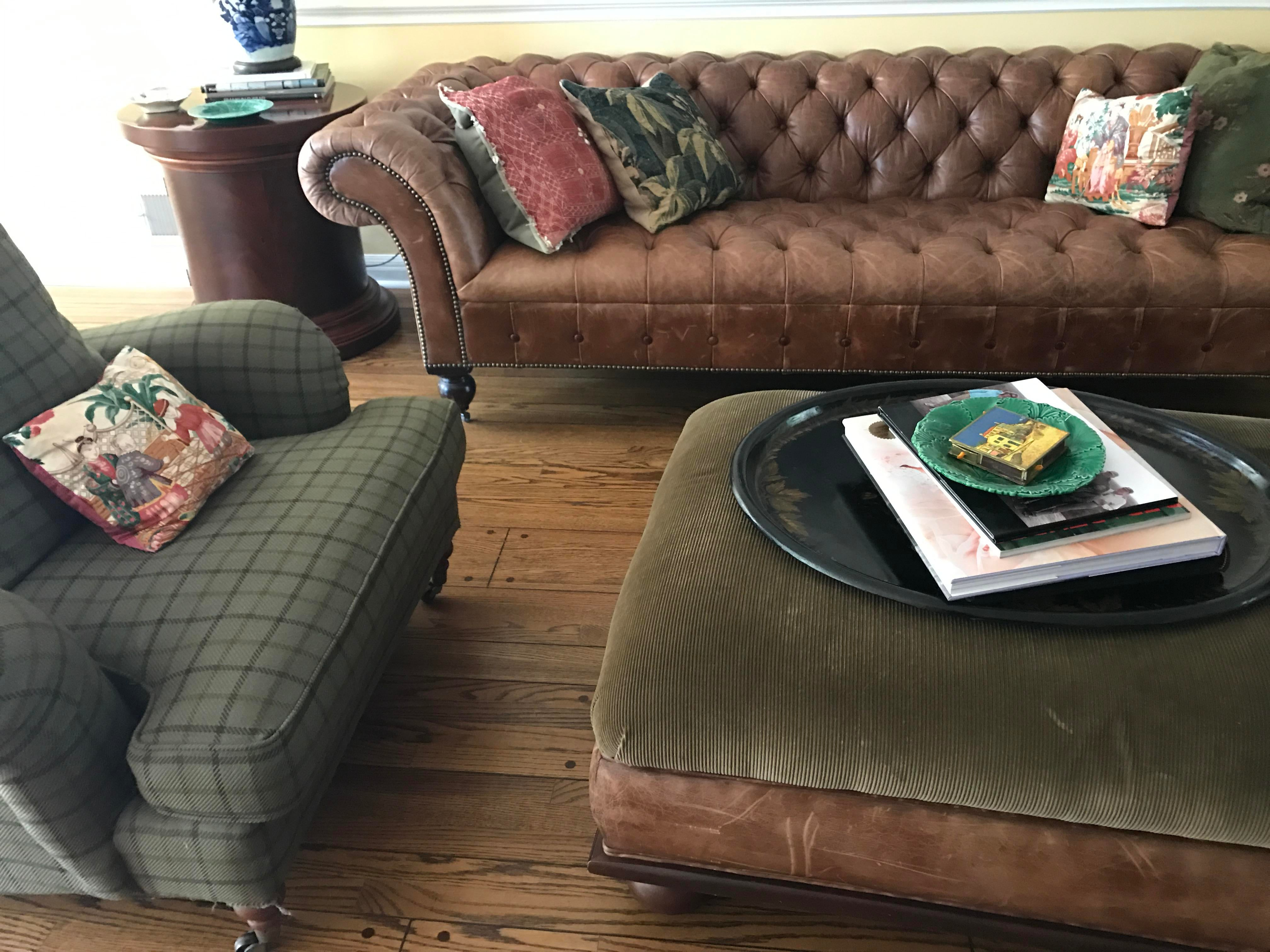 ralph lauren home chesterfield sofa friheten 3 seater bed review brown leather | chairish