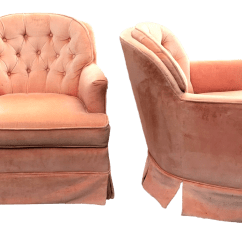 Pink Swivel Chair Mesh Folding Chairs Outdoor Vintage Mid Century Modern Tufted Velvet Peach Club A Pair For