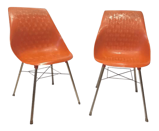 mid century modern plastic chairs neck posture chair shell molded burnt orange a pair for sale