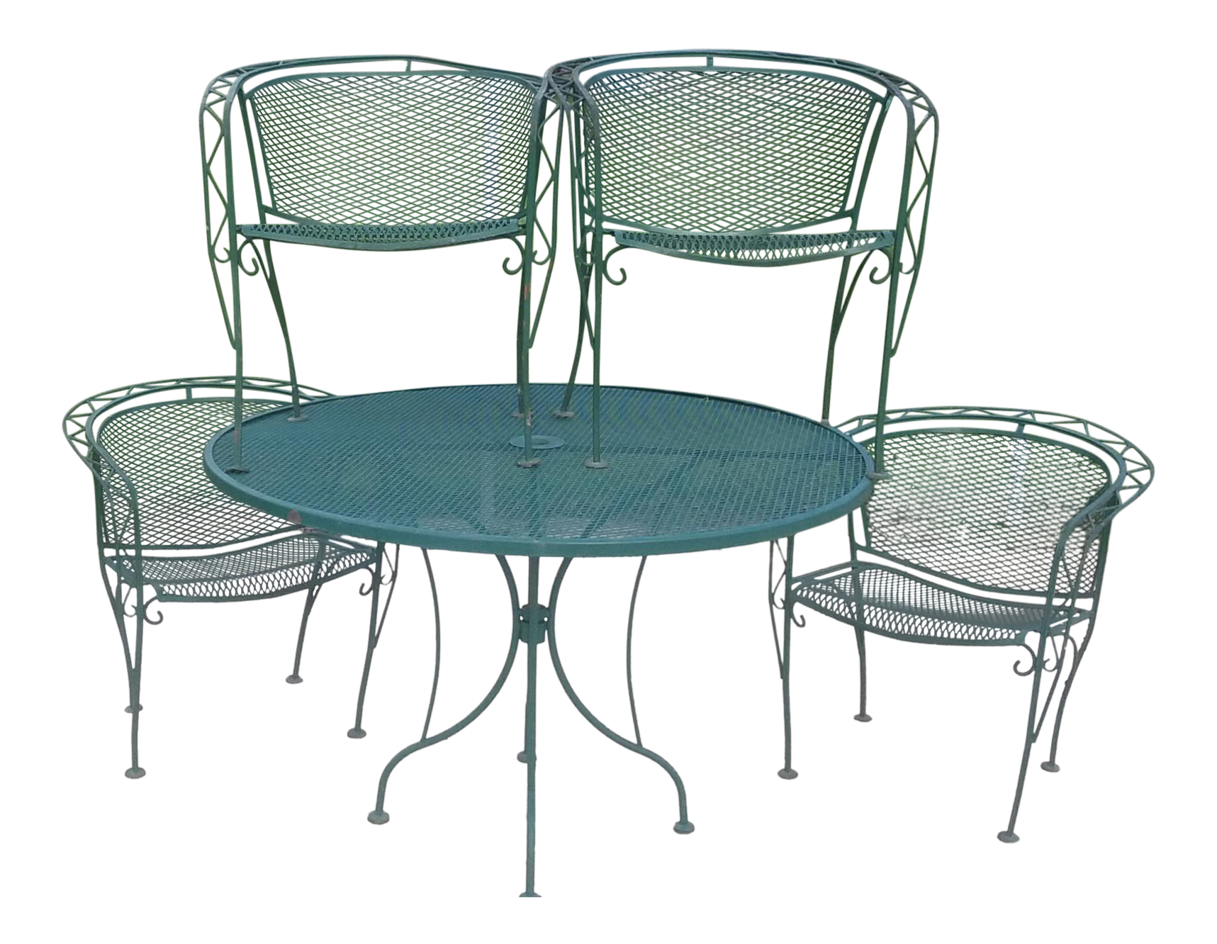dining table with metal chairs frozen and chair set vintage used sets for sale chairish mid century modern woodward wrought iron outdoor patio of 5