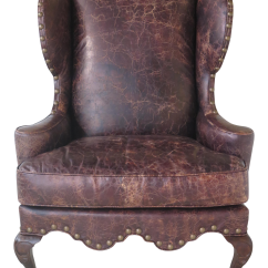 Leather Wing Chairs Fishing Chair Platform Vintage Used Queen Anne Wingback Chairish Century Distressed With Drake Feet
