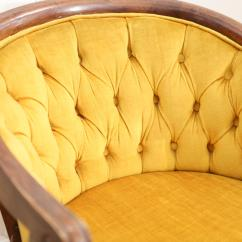 Tufted Yellow Chair Brown Covers Vintage Velvet Mustered Chairish Hollywood Regency For Sale Image 3 Of 7
