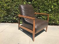 Mid Century Style Sculptural Leather Chair | Chairish