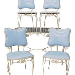 Vintage Table And Chairs Deluxe Folding Used Dining Chair Sets For Sale Chairish 5 Pc Blue Wrought Iron Patio Set 4 Mid Century Woodard