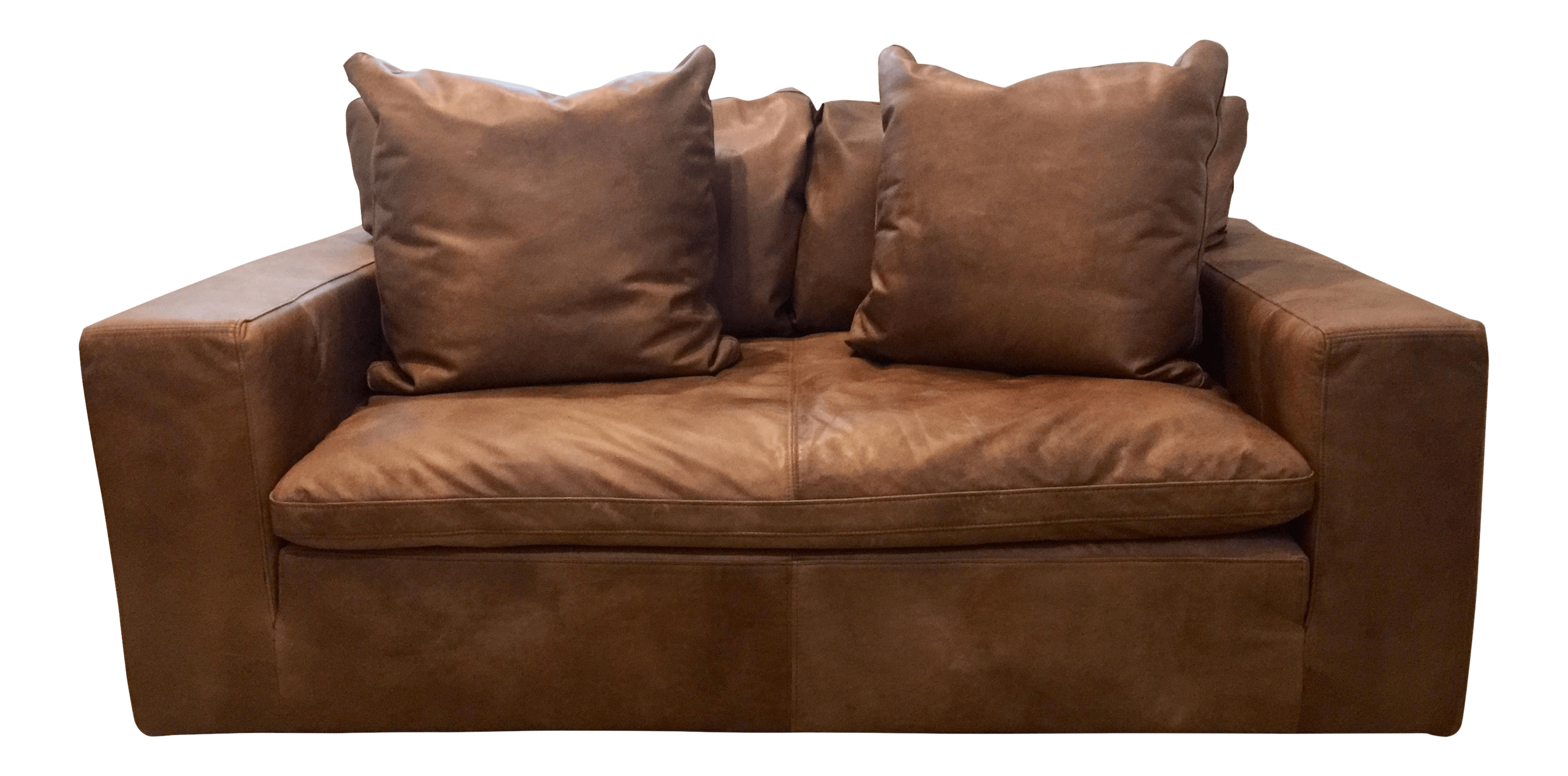 cloud track arm leather two seat cushion sofa antique chaise longue daybed couch settee gently used restoration hardware furniture up to 50 off at chairish modern brown loveseat