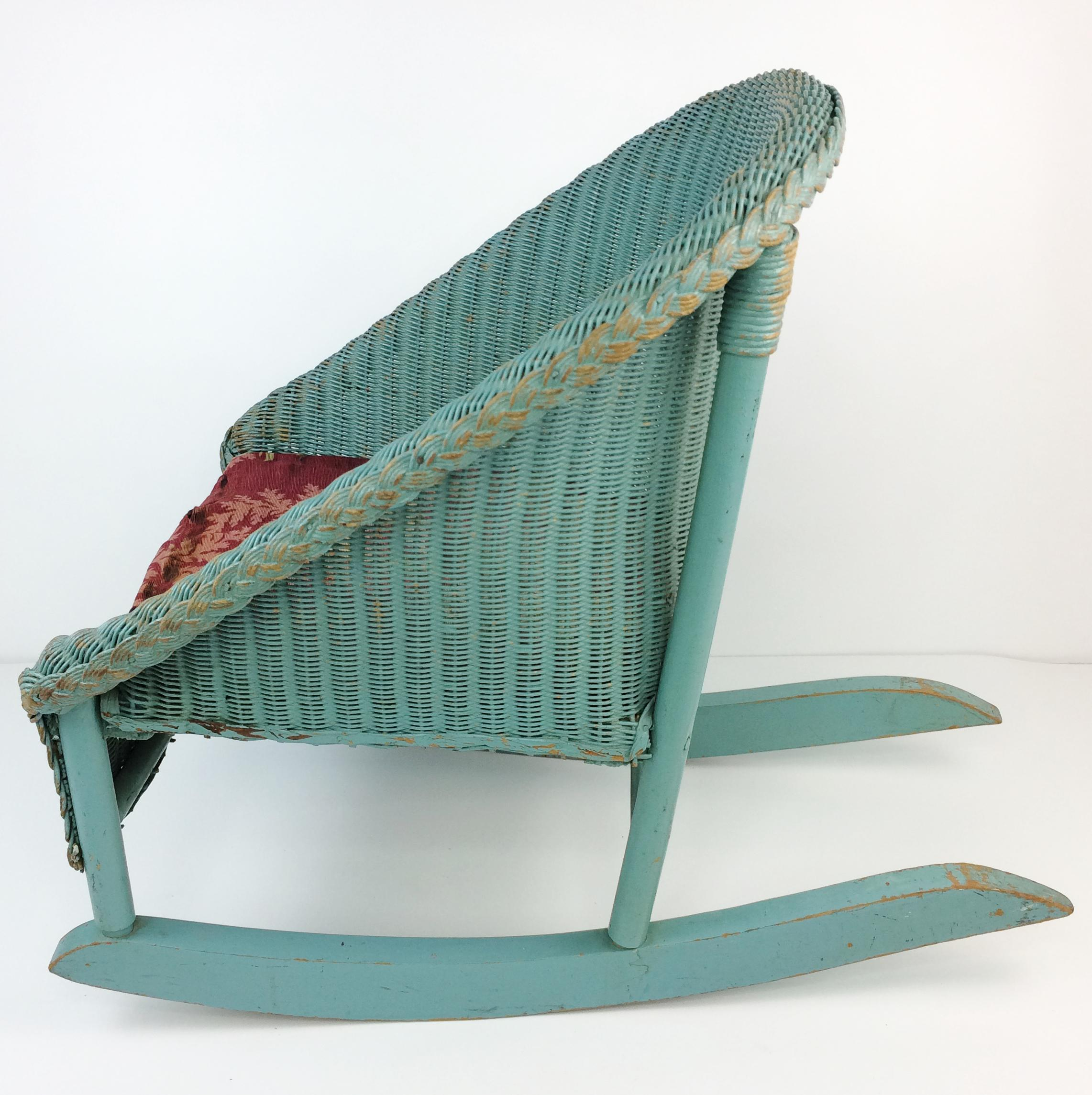 vintage wicker rocking chair bergere chairs lloyd loom antique chairish for sale image 5 of 8