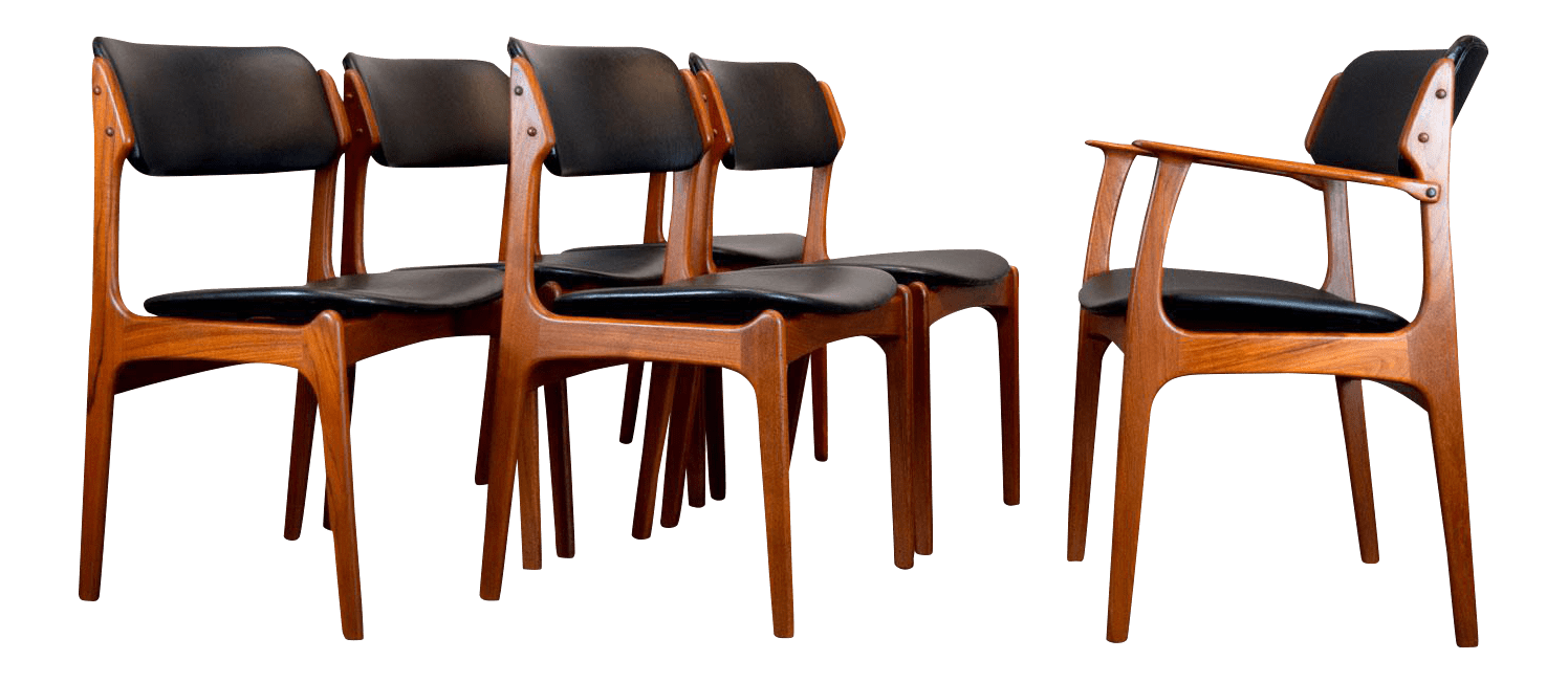 erik buck chairs table with swivel buch floating seat danish teak dining set of 6