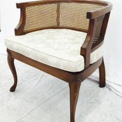 Mid Century Modern Cane Barrel Chairs Fold Up Chair Vintage Side Back Chairish Rounded Arm Stunning Detail Good